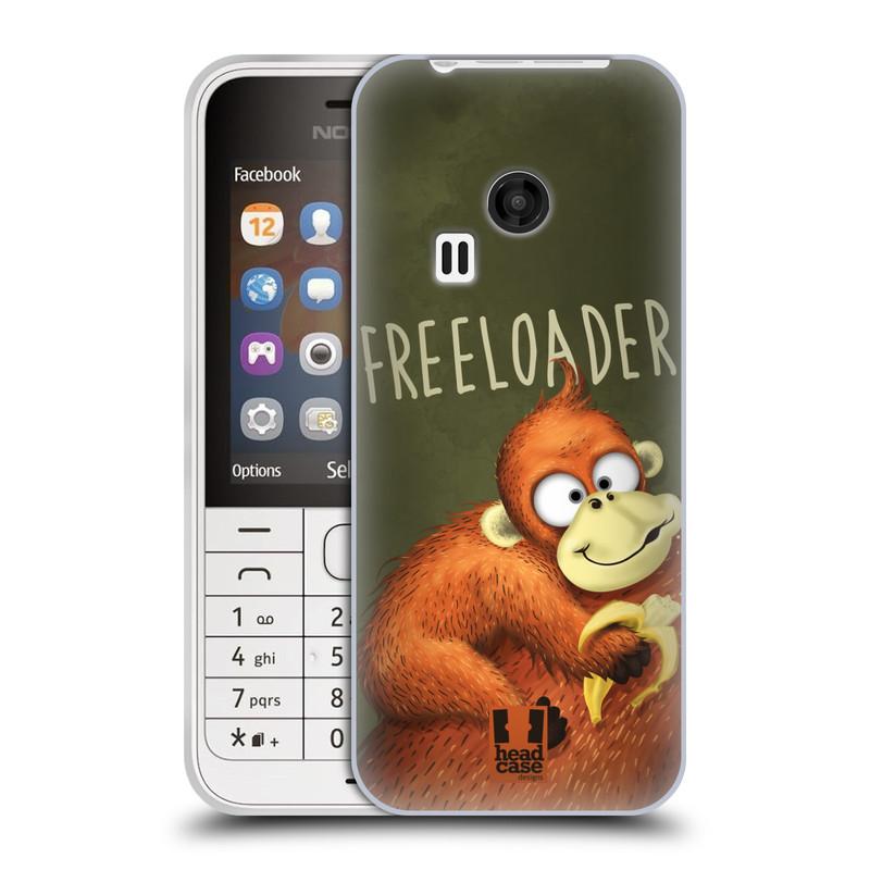 Silikonové pouzdro na mobil Nokia 220 HEAD CASE Opičák Freeloader (Silikonový kryt či obal na mobilní telefon Nokia 220 a 220 Dual SIM)