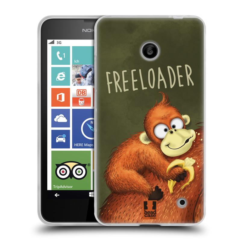 Silikonové pouzdro na mobil Nokia Lumia 630 HEAD CASE Opičák Freeloader (Silikonový kryt či obal na mobilní telefon Nokia Lumia 630 a Nokia Lumia 630 Dual SIM)