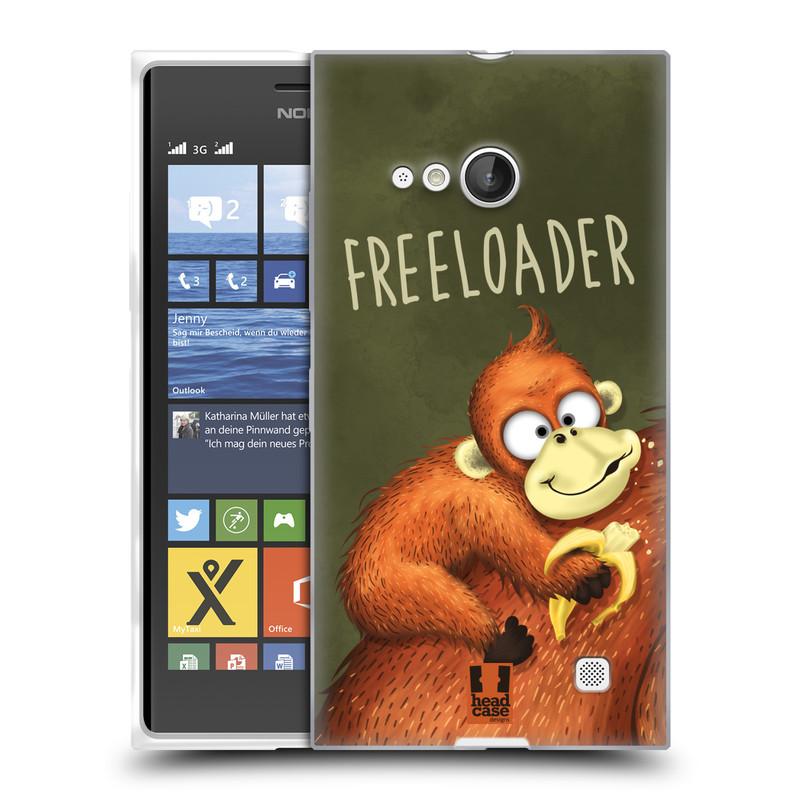 Silikonové pouzdro na mobil Nokia Lumia 730 Dual SIM HEAD CASE Opičák Freeloader (Silikonový kryt či obal na mobilní telefon Nokia Lumia 730 Dual SIM)