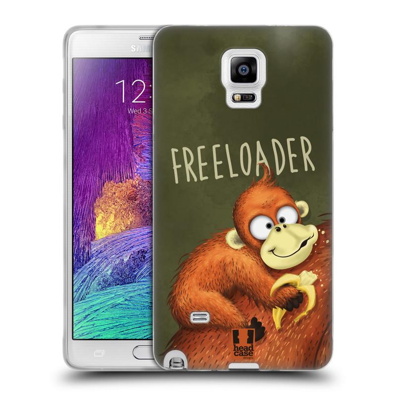 Silikonové pouzdro na mobil Samsung Galaxy Note 4 HEAD CASE Opičák Freeloader (Silikonový kryt či obal na mobilní telefon Samsung Galaxy Note 4 SM-N910F)