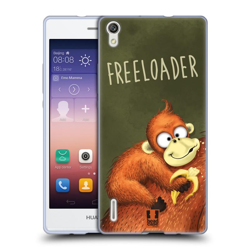 Silikonové pouzdro na mobil Huawei P7 HEAD CASE Opičák Freeloader (Silikonový kryt či obal na mobilní telefon Huawei Ascend P7)
