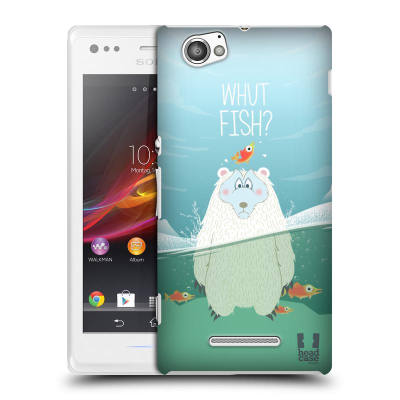 Plastové pouzdro na mobil Sony Xperia M C1905 HEAD CASE Medvěd Whut Fish? (Kryt či obal na mobilní telefon Sony Xperia M )