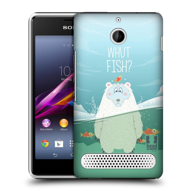 Plastové pouzdro na mobil Sony Xperia E1 D2005 HEAD CASE Medvěd Whut Fish? (Kryt či obal na mobilní telefon Sony Xperia E1 a E1 Dual)