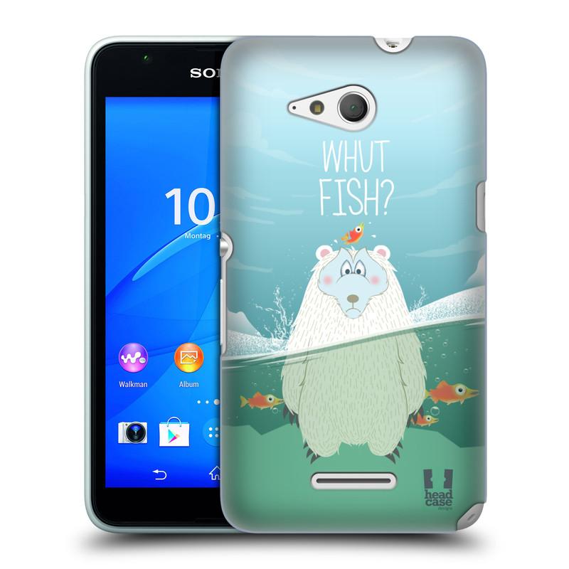 Plastové pouzdro na mobil Sony Xperia E4g E2003 HEAD CASE Medvěd Whut Fish? (Kryt či obal na mobilní telefon Sony Xperia E4g a E4g Dual SIM)