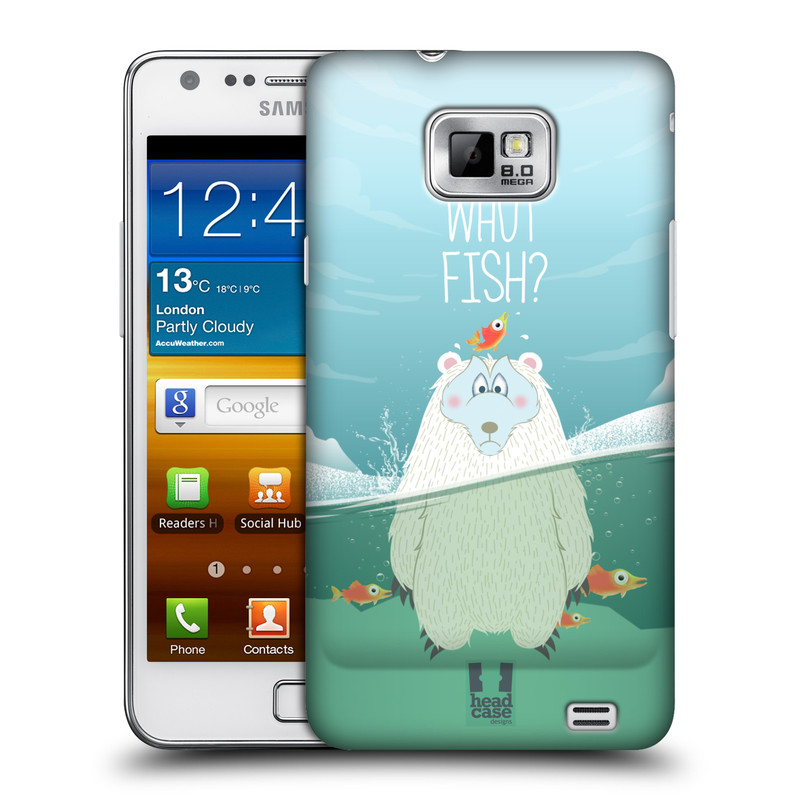 Plastové pouzdro na mobil Samsung Galaxy S II HEAD CASE Medvěd Whut Fish? (Kryt či obal na mobilní telefon Samsung Galaxy S II GT-i9100)