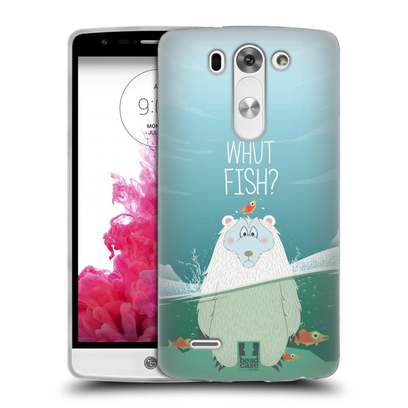 Silikonové pouzdro na mobil LG G3s HEAD CASE Medvěd Whut Fish? (Silikonový kryt či obal na mobilní telefon LG G3s)