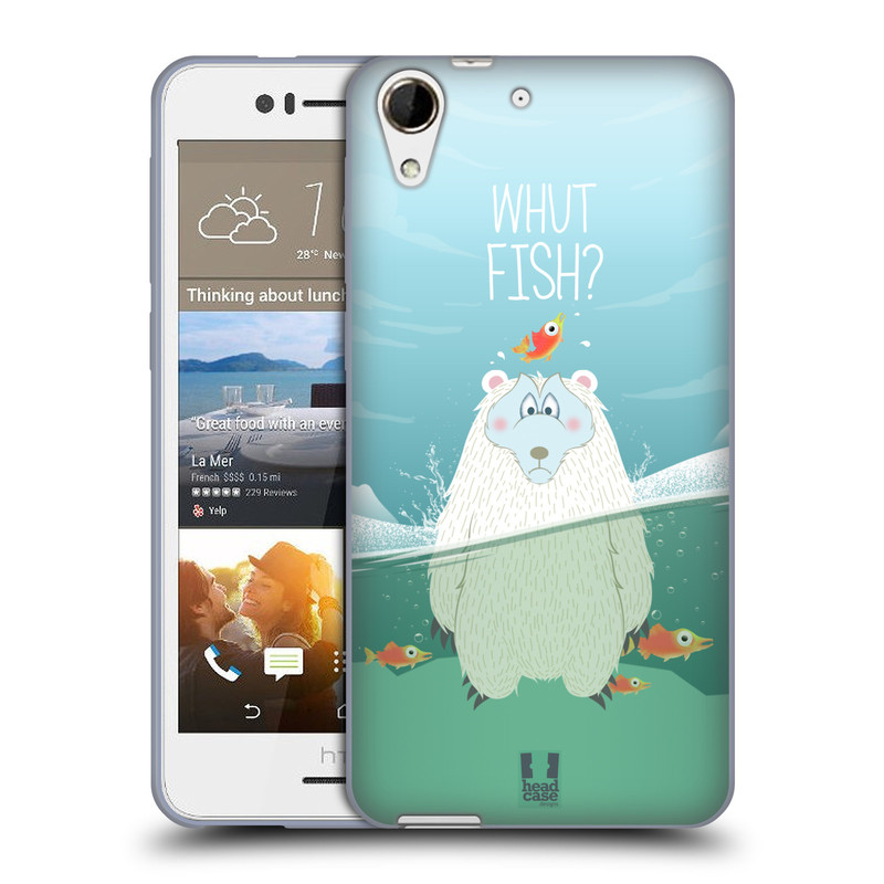 Silikonové pouzdro na mobil HTC Desire 728G Dual SIM HEAD CASE Medvěd Whut Fish? (Silikonový kryt či obal na mobilní telefon HTC Desire 728 G Dual SIM)