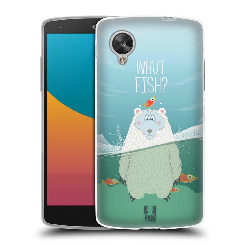 Silikonové pouzdro na mobil LG Nexus 5 HEAD CASE Medvěd Whut Fish? (Silikonový kryt či obal na mobilní telefon LG Google Nexus 5 D821)