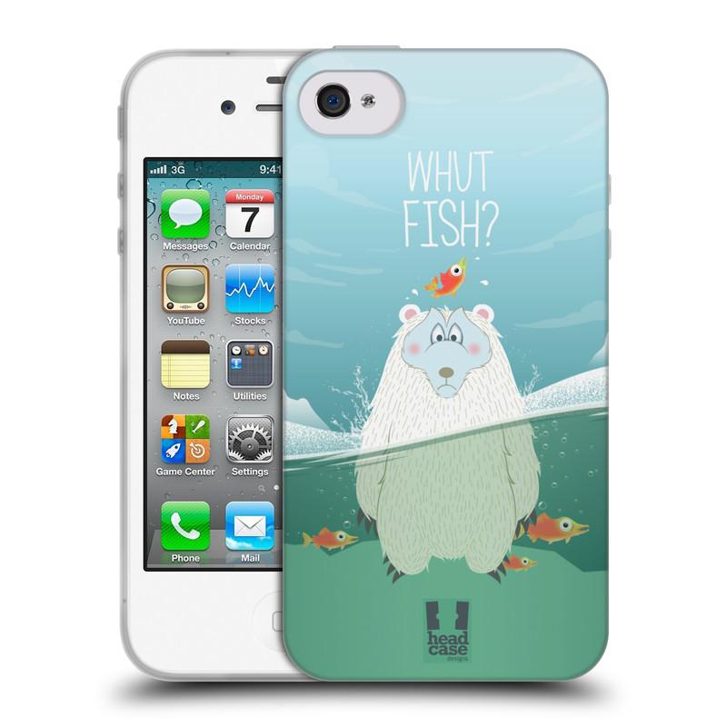 Silikonové pouzdro na mobil Apple iPhone 4 a 4S HEAD CASE Medvěd Whut Fish? (Silikonový kryt či obal na mobilní telefon Apple iPhone 4 a 4S)