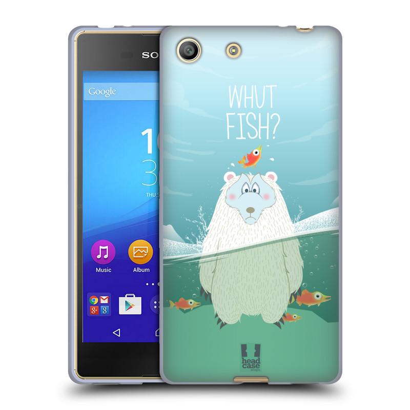 Silikonové pouzdro na mobil Sony Xperia M5 HEAD CASE Medvěd Whut Fish? (Silikonový kryt či obal na mobilní telefon Sony Xperia M5 Dual SIM / Aqua)