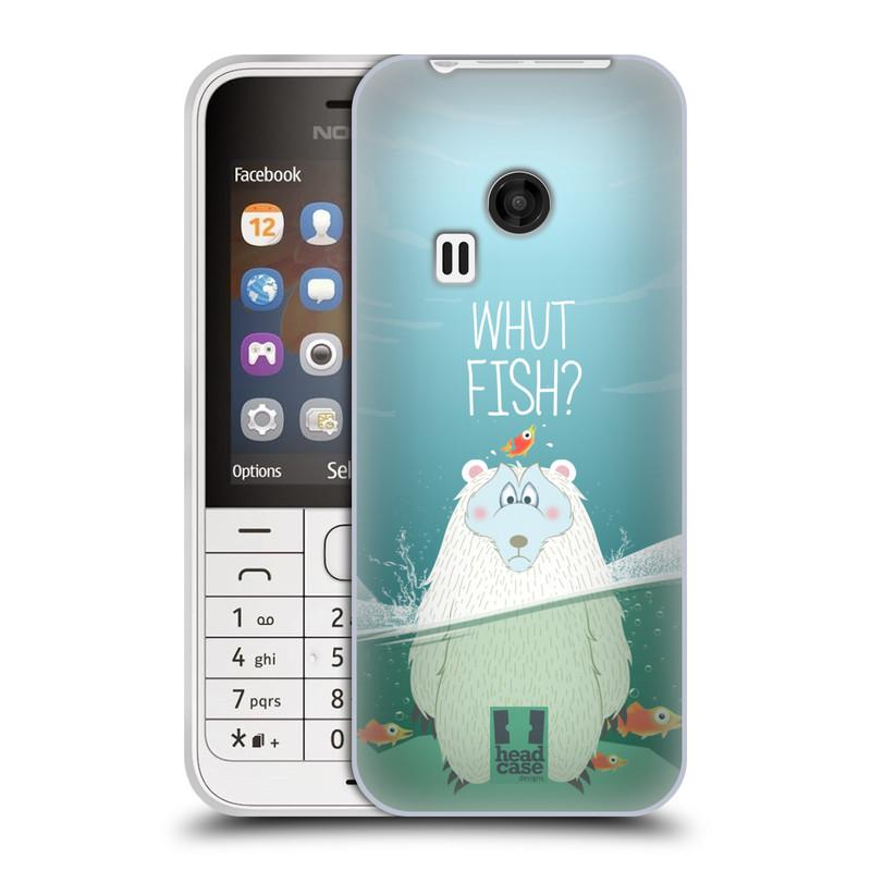 Silikonové pouzdro na mobil Nokia 220 HEAD CASE Medvěd Whut Fish? (Silikonový kryt či obal na mobilní telefon Nokia 220 a 220 Dual SIM)