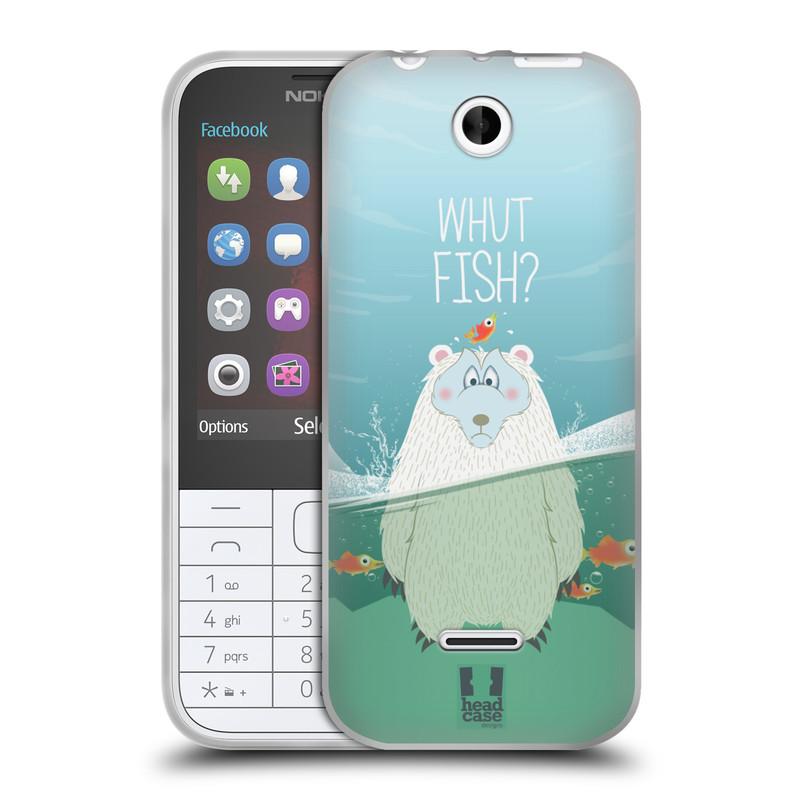 Silikonové pouzdro na mobil Nokia 225 HEAD CASE Medvěd Whut Fish? (Silikonový kryt či obal na mobilní telefon Nokia 225)