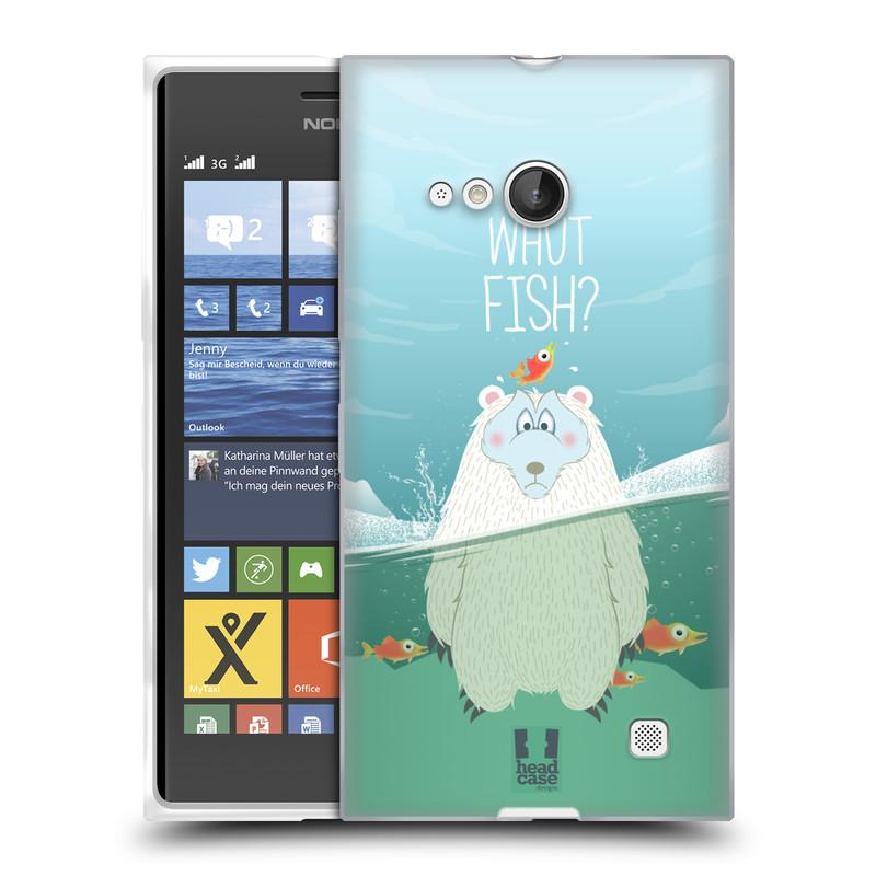 Silikonové pouzdro na mobil Nokia Lumia 730 Dual SIM HEAD CASE Medvěd Whut Fish? (Silikonový kryt či obal na mobilní telefon Nokia Lumia 730 Dual SIM)
