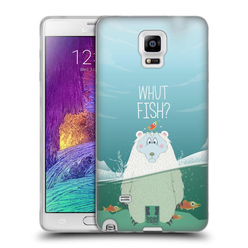 Silikonové pouzdro na mobil Samsung Galaxy Note 4 HEAD CASE Medvěd Whut Fish? (Silikonový kryt či obal na mobilní telefon Samsung Galaxy Note 4 SM-N910F)