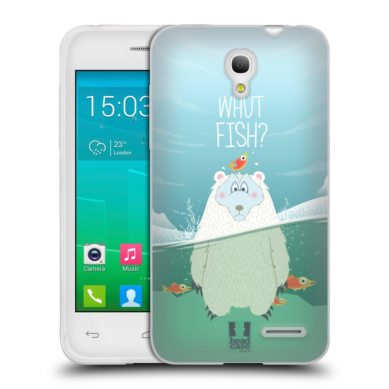 Silikonové pouzdro na mobil Alcatel One Touch Pop S3 HEAD CASE Medvěd Whut Fish? (Silikonový kryt či obal na mobilní telefon Alcatel OT- 5050Y POP S3)
