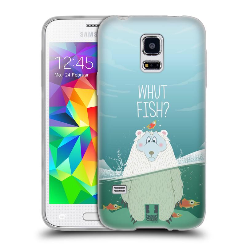 Silikonové pouzdro na mobil Samsung Galaxy S5 Mini HEAD CASE Medvěd Whut Fish? (Silikonový kryt či obal na mobilní telefon Samsung Galaxy S5 Mini SM-G800F)
