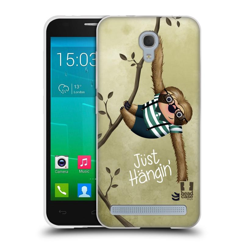 Silikonové pouzdro na mobil Alcatel One Touch Idol 2 Mini S 6036Y HEAD CASE Lenochod Just Hangin (Silikonový kryt či obal na mobilní telefon Alcatel Idol 2 Mini S OT-6036Y)