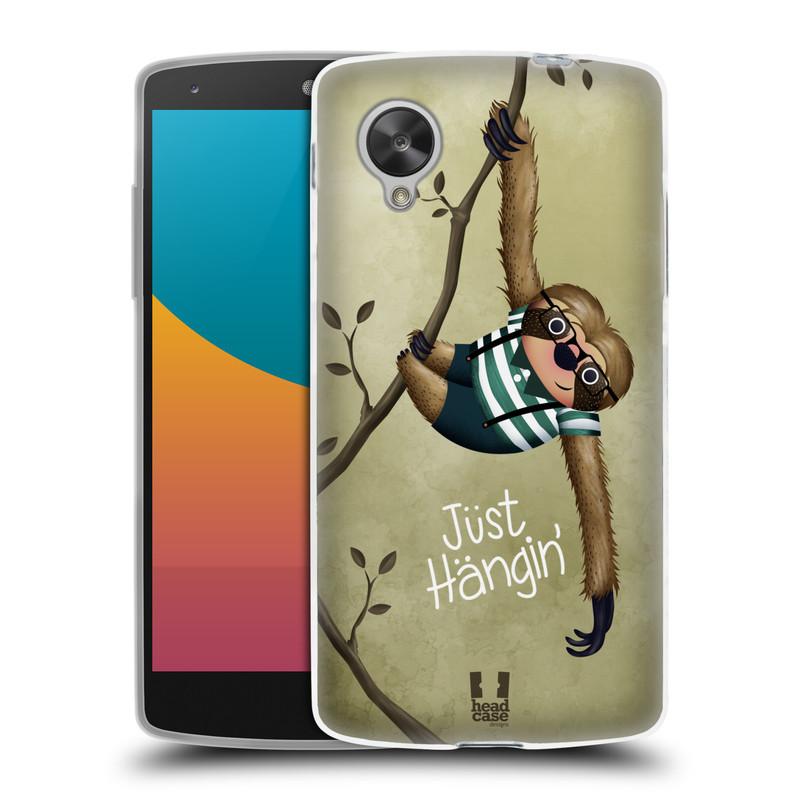 Silikonové pouzdro na mobil LG Nexus 5 HEAD CASE Lenochod Just Hangin (Silikonový kryt či obal na mobilní telefon LG Google Nexus 5 D821)