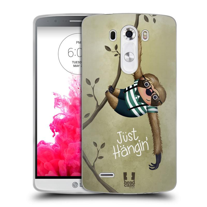 Silikonové pouzdro na mobil LG G3 HEAD CASE Lenochod Just Hangin (Silikonový kryt či obal na mobilní telefon LG G3)