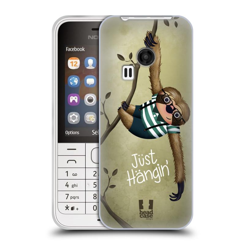 Silikonové pouzdro na mobil Nokia 220 HEAD CASE Lenochod Just Hangin (Silikonový kryt či obal na mobilní telefon Nokia 220 a 220 Dual SIM)