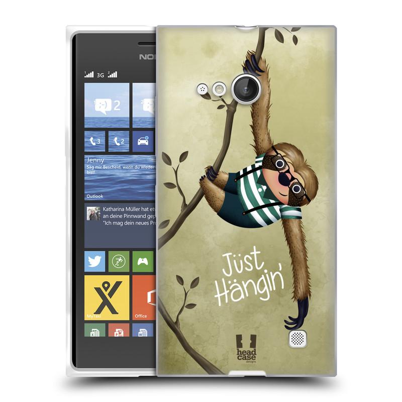 Silikonové pouzdro na mobil Nokia Lumia 730 Dual SIM HEAD CASE Lenochod Just Hangin (Silikonový kryt či obal na mobilní telefon Nokia Lumia 730 Dual SIM)