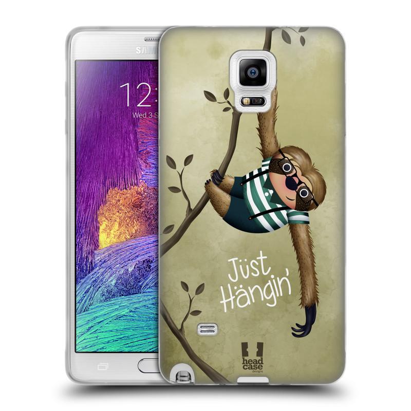 Silikonové pouzdro na mobil Samsung Galaxy Note 4 HEAD CASE Lenochod Just Hangin (Silikonový kryt či obal na mobilní telefon Samsung Galaxy Note 4 SM-N910F)