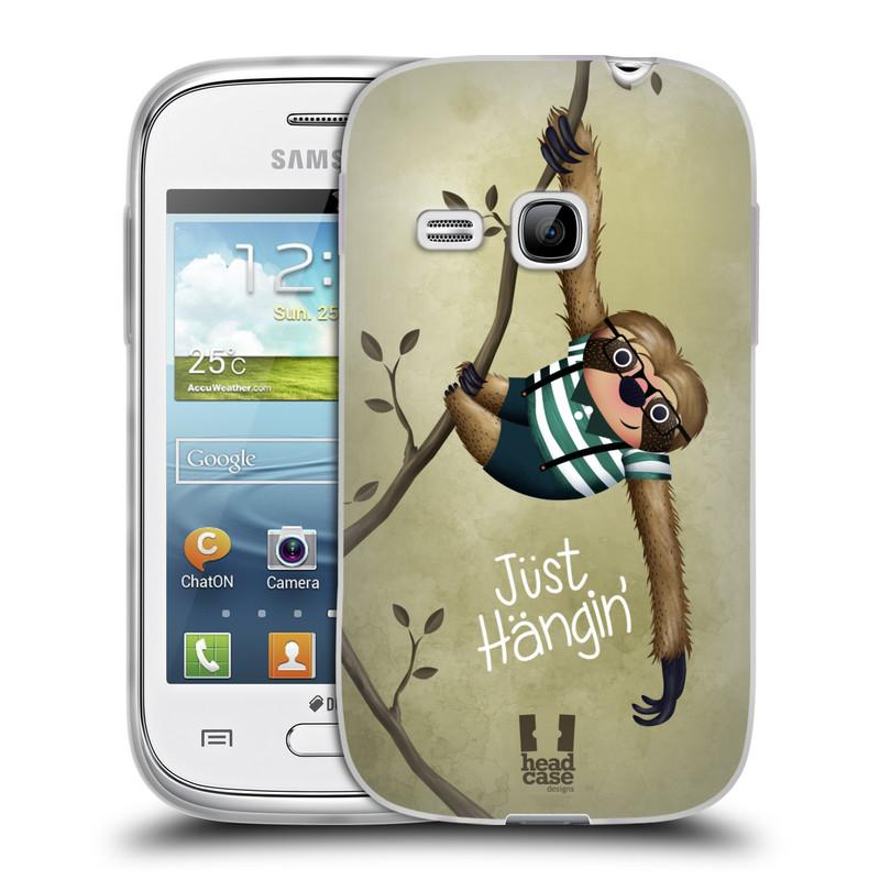 Silikonové pouzdro na mobil Samsung Galaxy Young HEAD CASE Lenochod Just Hangin (Silikonový kryt či obal na mobilní telefon Samsung Galaxy Young GT-S6310)