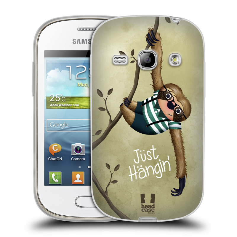 Silikonové pouzdro na mobil Samsung Galaxy Fame HEAD CASE Lenochod Just Hangin (Silikonový kryt či obal na mobilní telefon Samsung Galaxy Fame GT-S6810)