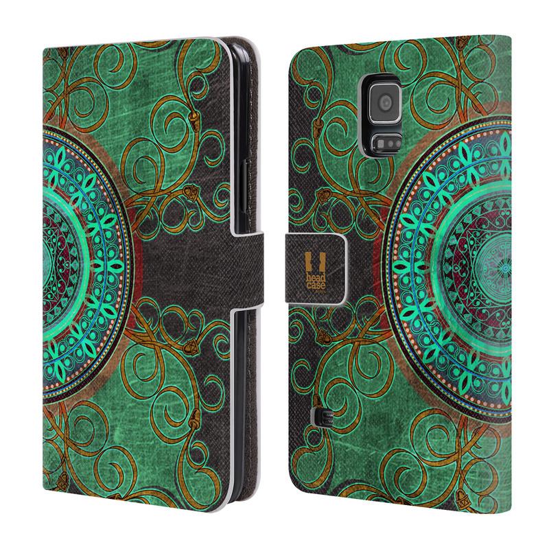 Flipové pouzdro na mobil Samsung Galaxy S5 HEAD CASE ARAB MANDALA (Flipový vyklápěcí kryt či obal z umělé kůže na mobilní telefon Samsung Galaxy S5 SM-G900)
