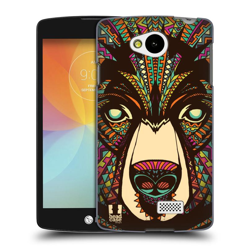 Plastové pouzdro na mobil LG F60 HEAD CASE AZTEC MEDVĚD (Kryt či obal na mobilní telefon LG F60 D390n)