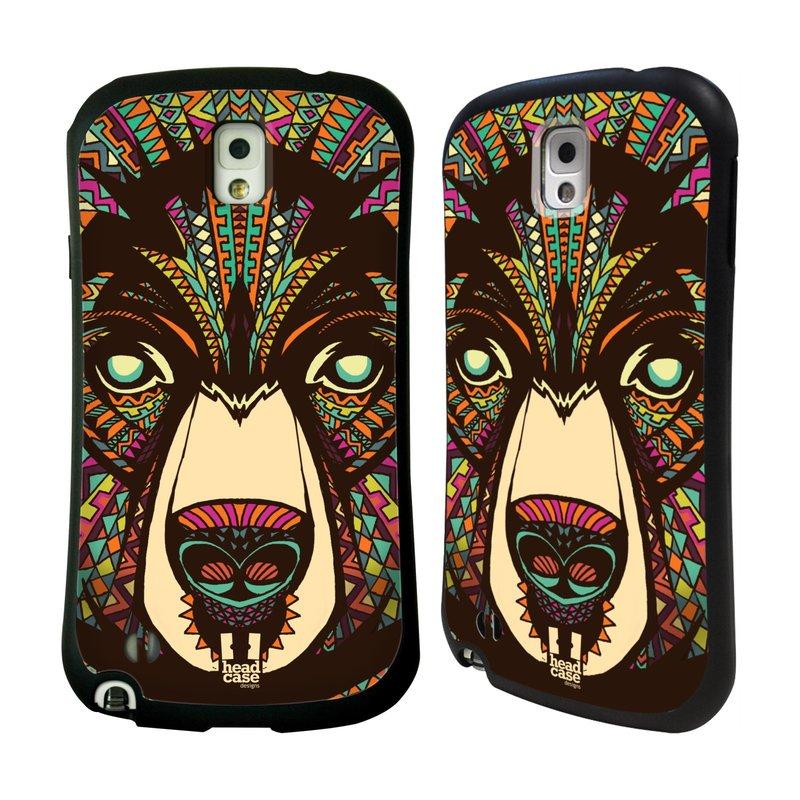 Nárazuvzdorné pouzdro na mobil Samsung Galaxy Note 3 HEAD CASE AZTEC MEDVĚD (Odolný nárazuvzdorný silikonový kryt či obal na mobilní telefon Samsung Galaxy Note 3 SM-N9005)