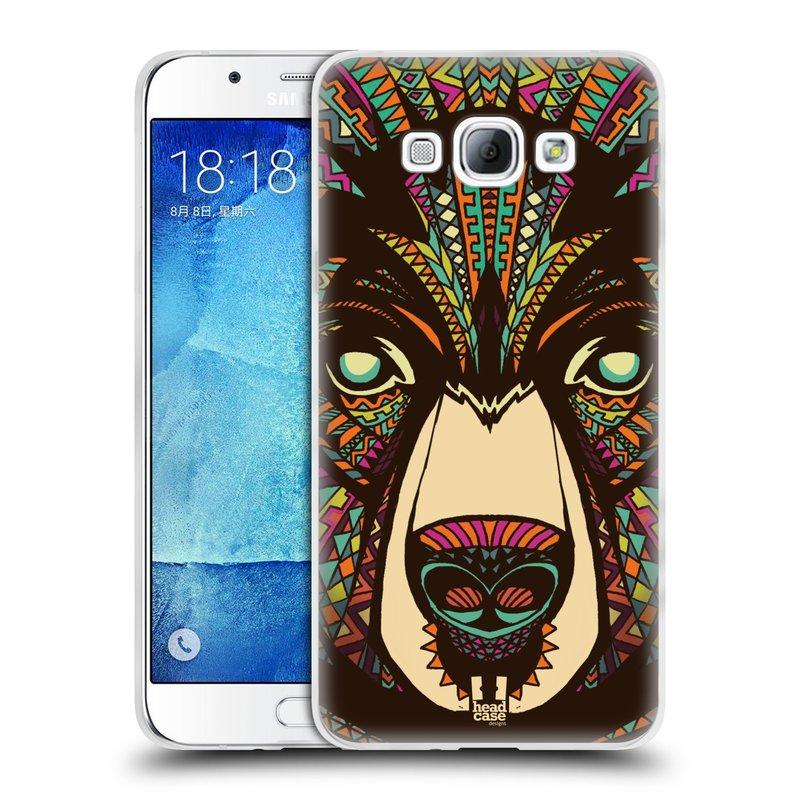 Silikonové pouzdro na mobil Samsung Galaxy A8 HEAD CASE AZTEC MEDVĚD (Silikonový kryt či obal na mobilní telefon Samsung Galaxy A8 SM-A800)