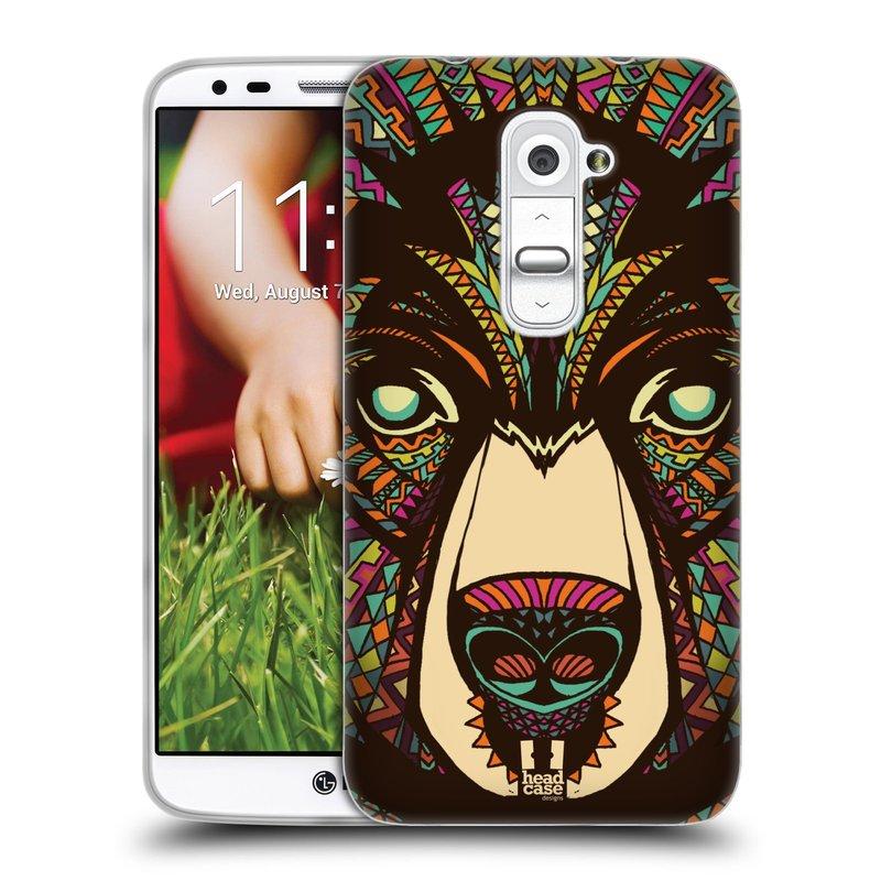 Silikonové pouzdro na mobil LG G2 HEAD CASE AZTEC MEDVĚD (Silikonový kryt či obal na mobilní telefon LG G2 D802)