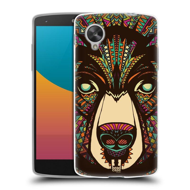 Silikonové pouzdro na mobil LG Nexus 5 HEAD CASE AZTEC MEDVĚD (Silikonový kryt či obal na mobilní telefon LG Google Nexus 5 D821)