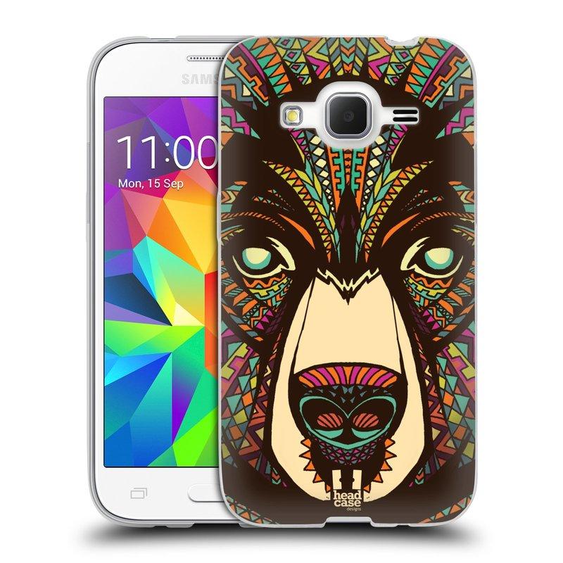 Silikonové pouzdro na mobil Samsung Galaxy Core Prime LTE HEAD CASE AZTEC MEDVĚD (Silikonový kryt či obal na mobilní telefon Samsung Galaxy Core Prime LTE SM-G360)