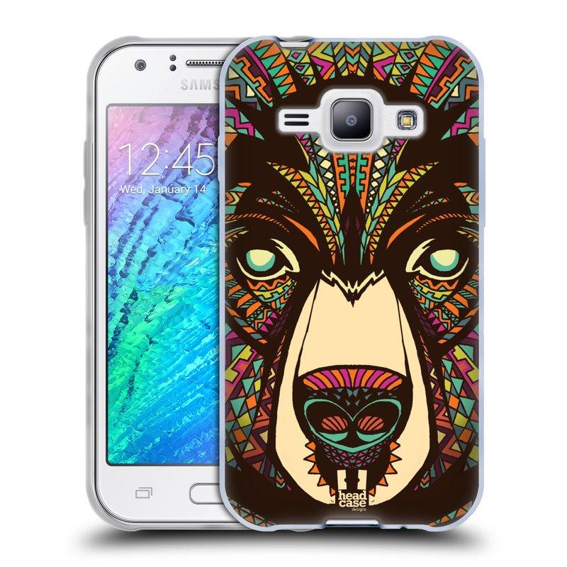 Silikonové pouzdro na mobil Samsung Galaxy J1 HEAD CASE AZTEC MEDVĚD (Silikonový kryt či obal na mobilní telefon Samsung Galaxy J1 a J1 Duos)