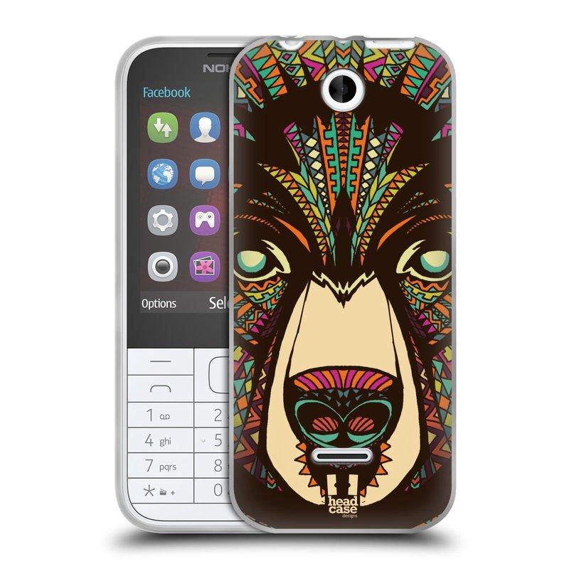 Silikonové pouzdro na mobil Nokia 225 HEAD CASE AZTEC MEDVĚD (Silikonový kryt či obal na mobilní telefon Nokia 225)