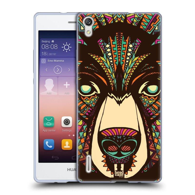 Silikonové pouzdro na mobil Huawei P7 HEAD CASE AZTEC MEDVĚD (Silikonový kryt či obal na mobilní telefon Huawei Ascend P7)