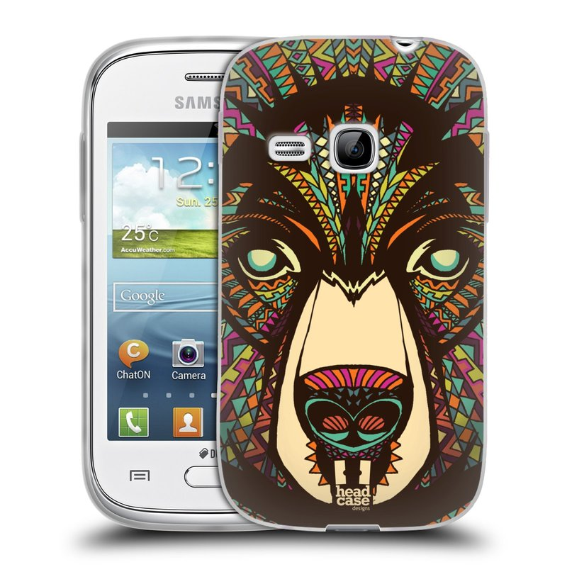 Silikonové pouzdro na mobil Samsung Galaxy Young HEAD CASE AZTEC MEDVĚD (Silikonový kryt či obal na mobilní telefon Samsung Galaxy Young GT-S6310)