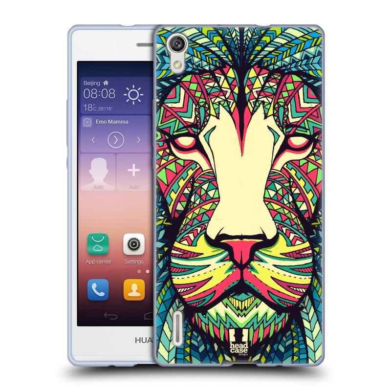 Silikonové pouzdro na mobil Huawei P7 HEAD CASE AZTEC LEV (Silikonový kryt či obal na mobilní telefon Huawei Ascend P7)
