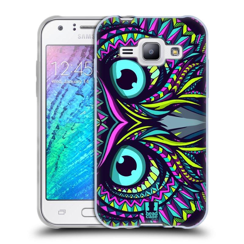 Silikonové pouzdro na mobil Samsung Galaxy J1 HEAD CASE AZTEC SOVA (Silikonový kryt či obal na mobilní telefon Samsung Galaxy J1 a J1 Duos)