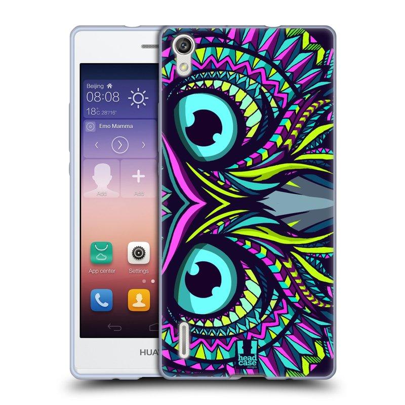Silikonové pouzdro na mobil Huawei P7 HEAD CASE AZTEC SOVA (Silikonový kryt či obal na mobilní telefon Huawei Ascend P7)