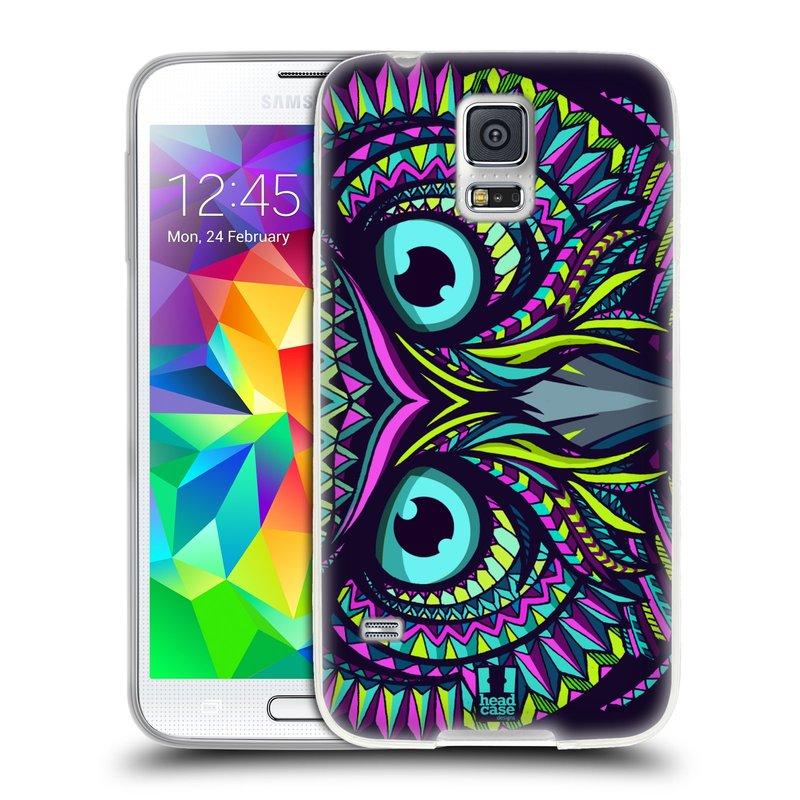 Silikonové pouzdro na mobil Samsung Galaxy S5 HEAD CASE AZTEC SOVA (Silikonový kryt či obal na mobilní telefon Samsung Galaxy S5 SM-G900F)