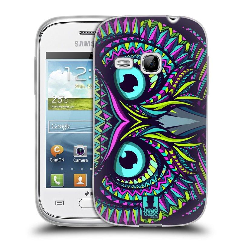 Silikonové pouzdro na mobil Samsung Galaxy Young HEAD CASE AZTEC SOVA (Silikonový kryt či obal na mobilní telefon Samsung Galaxy Young GT-S6310)