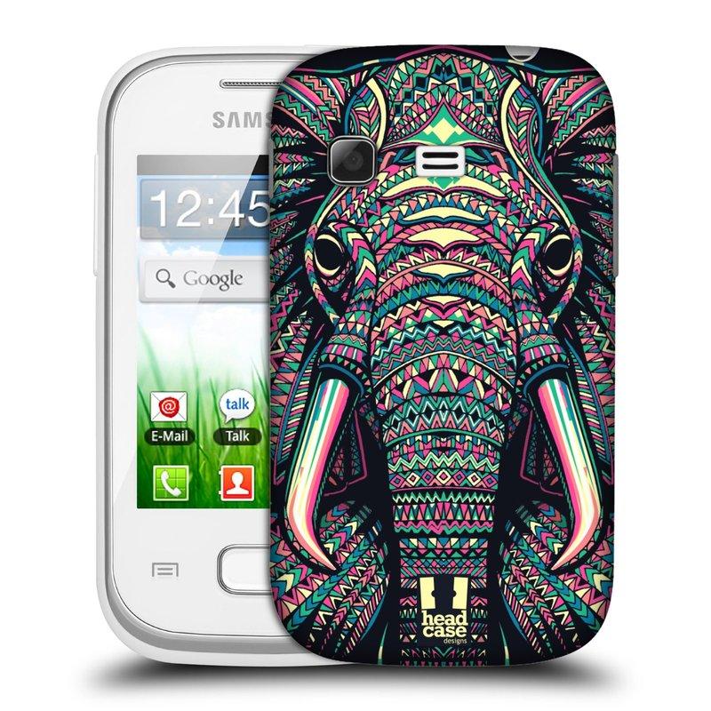Plastové pouzdro na mobil Samsung Galaxy Pocket HEAD CASE AZTEC SLON (Kryt či obal na mobilní telefon Samsung Galaxy Pocket GT-S5300)