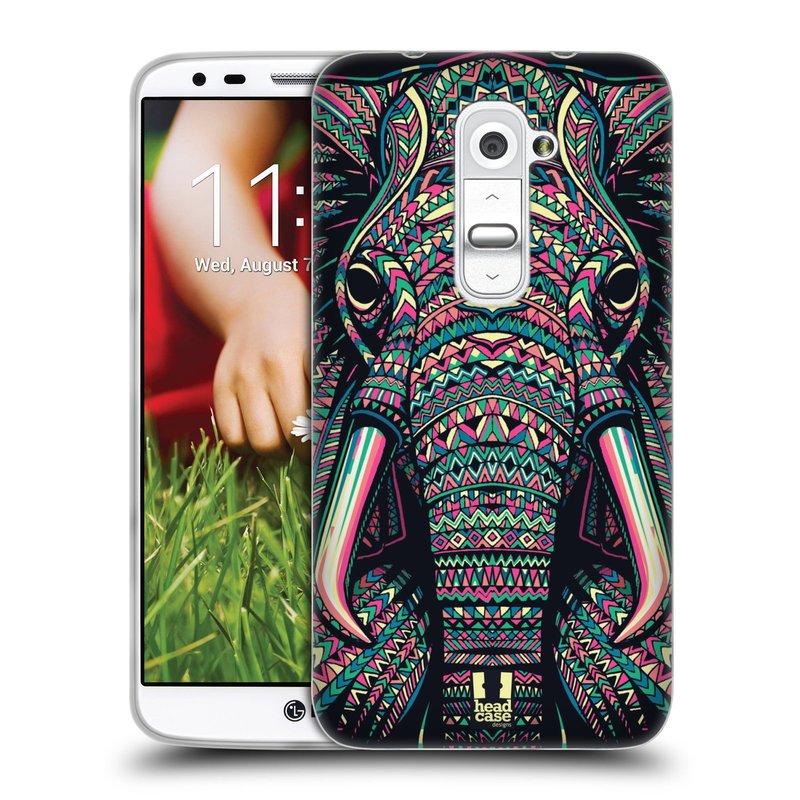 Silikonové pouzdro na mobil LG G2 HEAD CASE AZTEC SLON (Silikonový kryt či obal na mobilní telefon LG G2 D802)