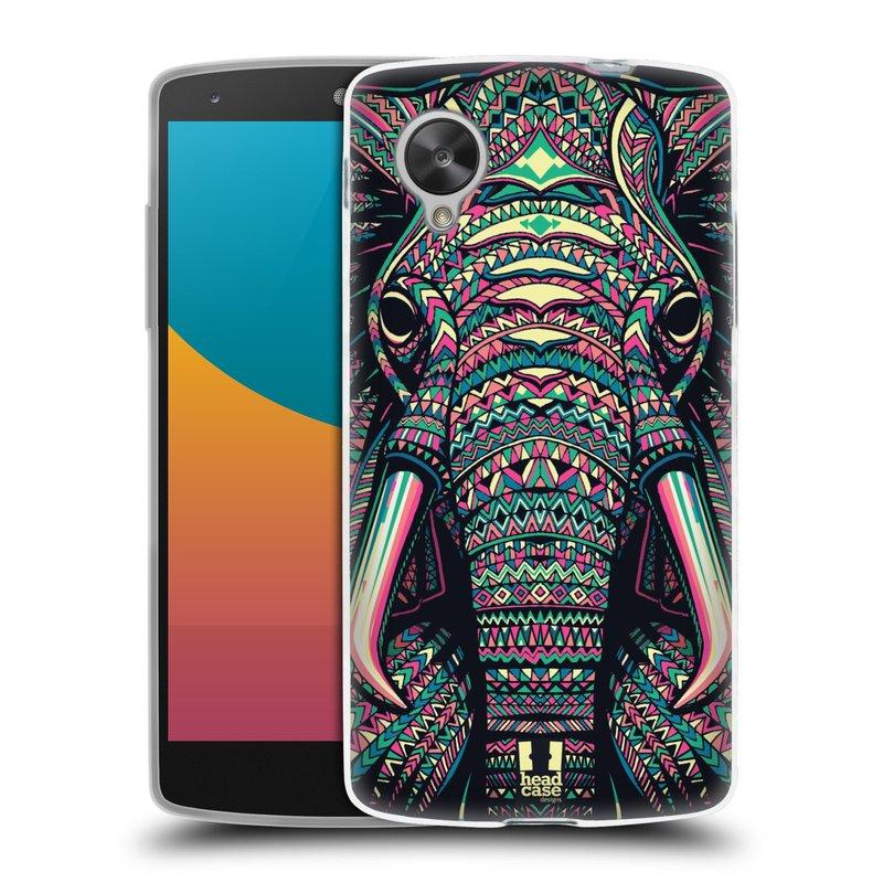 Silikonové pouzdro na mobil LG Nexus 5 HEAD CASE AZTEC SLON (Silikonový kryt či obal na mobilní telefon LG Google Nexus 5 D821)