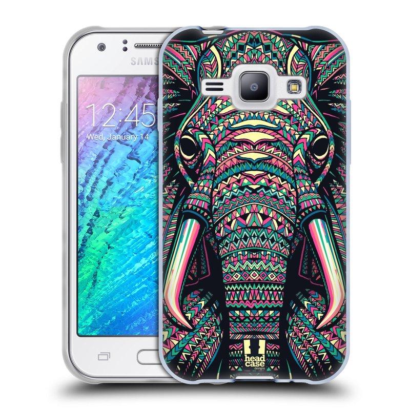 Silikonové pouzdro na mobil Samsung Galaxy J1 HEAD CASE AZTEC SLON (Silikonový kryt či obal na mobilní telefon Samsung Galaxy J1 a J1 Duos)