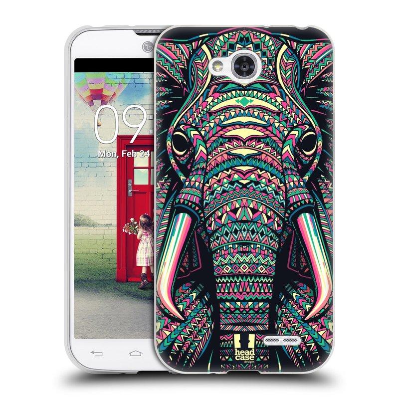 Silikonové pouzdro na mobil LG L90 HEAD CASE AZTEC SLON (Silikonový kryt či obal na mobilní telefon LG L90 D405n)