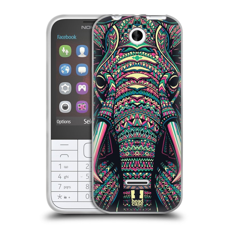 Silikonové pouzdro na mobil Nokia 225 HEAD CASE AZTEC SLON (Silikonový kryt či obal na mobilní telefon Nokia 225)